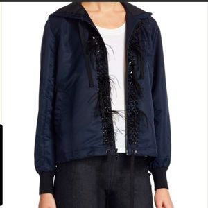 NWOT Cinq a Sept Navy Feather Trim Hooded Jacket S